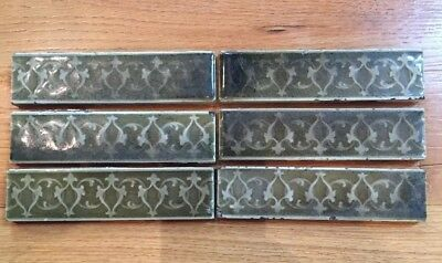 "ANTIQUE LOT of 6 AE TILE CO LTD 6"" GREEN w/DESIGN VICTORIAN STYLE FIREPLACE TILE"