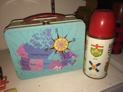 Metal Tin Lunch Kit Box Gsw Map Of Canada With Thermos Aladdin Rare!