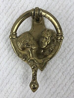 "Vintage Man & Women Kissing Door Knocker 5 1/2"" Solid Heavy Duty Brass Antique"
