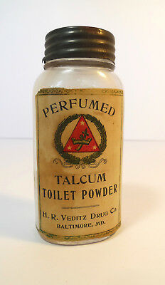 Antique Perfumed Talcum Toilet Powder HR Veditz Drug Co vintage shaker glass jar