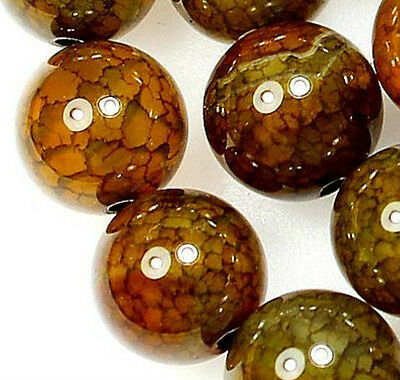 6mm Yellow Dragon Veins Agate Gem Round Loose Bead 15''