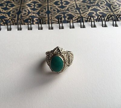Post Medieval Silver Ring Emerald  game of thrones jewellery Viking Norse base