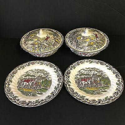 Vintage Myott Country Life, 2X Dinner Plates 2X Serving Dishes, Hunting Scene