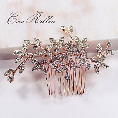 Rose Gold Flower Bridal Hair Comb Crystal Wedding Bridesmaid Pearl Hair Pin E47