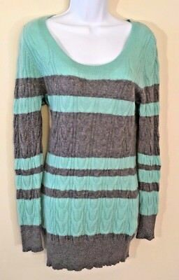 A Pea In The Pod MATERNITY 100% CASHMERE SWEATER Teal w/Gray Stripes LARGE