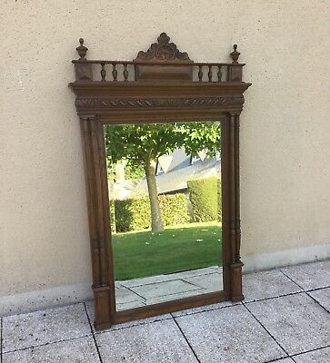 Antique French Mirror Beautifully Carved Walnut With Columns C1900