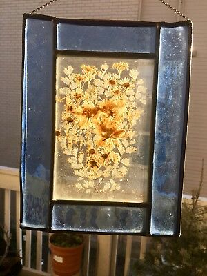 Framed Stained Glass, Mirror, Dried Flowers Wall Window Hanging