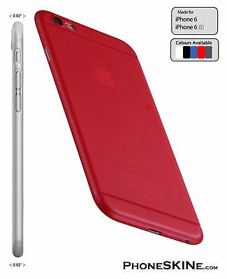 """iPhone 6 / 6s RED Apple PhoneSKINe 0.02"""" Ultra thin Case perfect fit Silicone"""