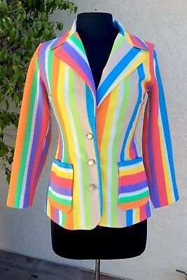 Vintage 1970s Womans Jacket Blazer Striped  Rainbow Small S