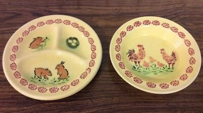 Vintage Baby Childs Divided Dish & Bowl Limoges China Co. Bunny Rabbits Chickens