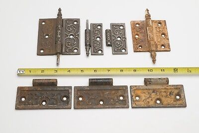 7 Antique Cast Iron Victorian Eastlake Door Hinge parts