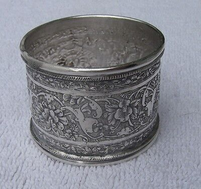 Superb Vintage PERSIAN Heavy Silver NAPKIN RING-Chased Floral Scrolls-NR