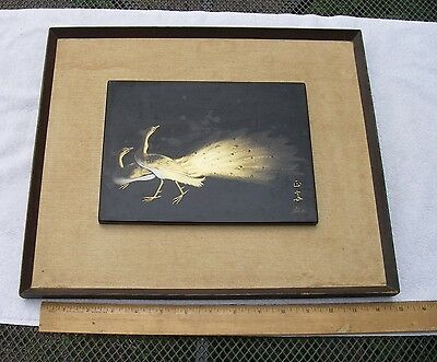 Fine JAPANESE LACQUER FRAMED PANEL-Gold PEACOCKS-Incised Signature-NR