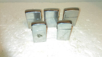 Lot Of 5 Vintage Zippo Lighters  Parts Or Repair