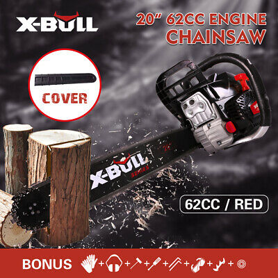 "X-BULL 20"" Bar Gasoline Powered Chainsaw 62cc Engine 2 Cycle Chain Saw"