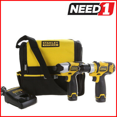 STANLEY FatMax 2pc 10.8V Compact Drill & Impact Driver - 2 Batteries & Charger