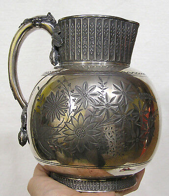 Vtg Rockford Silver Plate Pitcher Engraved Flowers Applied Flowers Late 1800s