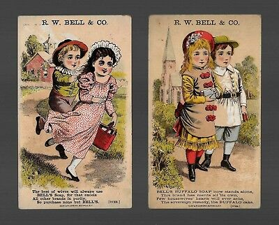 Children At Church and School-2 Victorian Trade Cards-Bell's Soap