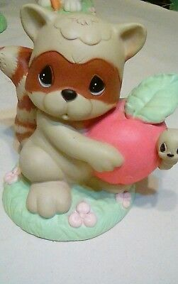 """Precious Moments Universal Statuary Racoon w/ apple and worm by Sam B 10"""" 1998"""