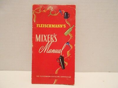 Vintage 1947 Fleischmann's Mixer's Manual drink mixing guide for bartenders