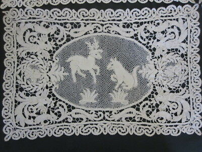 "6 Antique ITALIAN HAND MADE LACE Figural PLACEMATS 10x16"" Mythical Creatures"