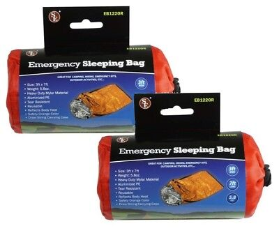 2 Pack Heavy Duty Emergency Thermal Sleeping Bag Camping Outdoor Survival