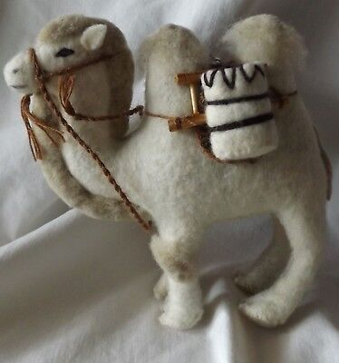 """Wool Felt Stuffed Bactrian Two Hump Camel Animal Toy Pack Saddle Harness 6 1/2"""""""