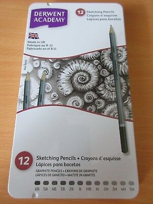 Derwent  Academy Sketching Pencils in Tin Case  - 12 Pack free postage