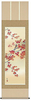 japanese hanging scroll   Colored leaves and little bird