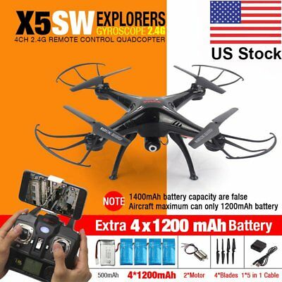 LOT Syma X5SW Wifi FPV Explorers 2.4G 4CH RC Quadcopter Drone HD Camera Black EK