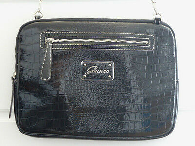 Patent leather croco GUESS computer laptop ipad briefcase travel luggage bag