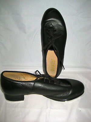 BLOCH Techno Tap Shoes Black Leather Upper & Sole Cotton Lining Size 8, Laceup