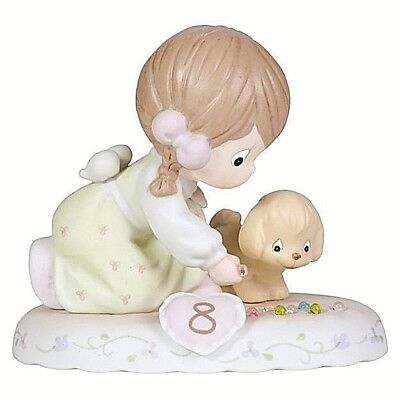 PRECIOUS MOMENTS AGE 8 GROWING IN GRACE Birthday Puppy Brunette Porcelain NIB