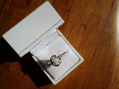 9ct gold solid white opal ring size p.