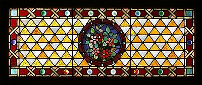 Antique American Stained and Jeweled Transom from Chicago, circa 1890