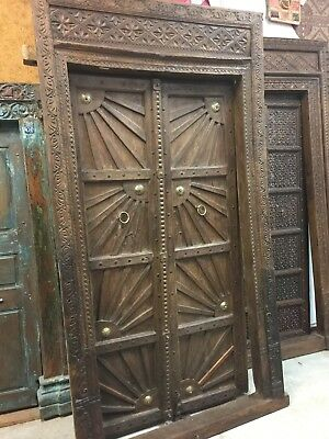 18c Antique India GROUNDING Doors & FRAME SUNRAY Carved TEAK Haveli ARCHITECTURE