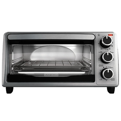 Black And Decker Electric Kitchen Broil Toaster Oven 4 Slice Stainless Steel