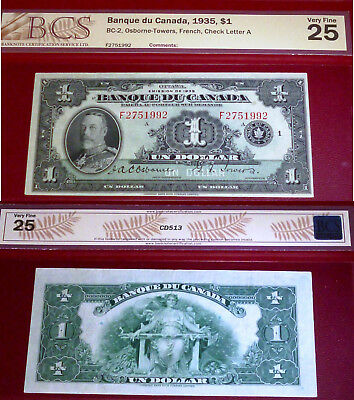 FRENCH 1935 $1 BANK OF CANADA PMG 30 -banque du canada