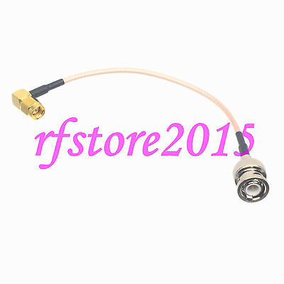Cable RG316 6inch BNC male plug to SMA male plug right angle RF Pigtail Jumper