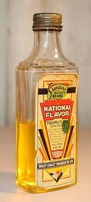 Vintage Grandey's Quality Brand National Flavor Pineapple Extract Bottle