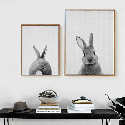 Cute Rabbit Canvas Wall Art Poster Animal Print Painting Baby Nursery Room Decor