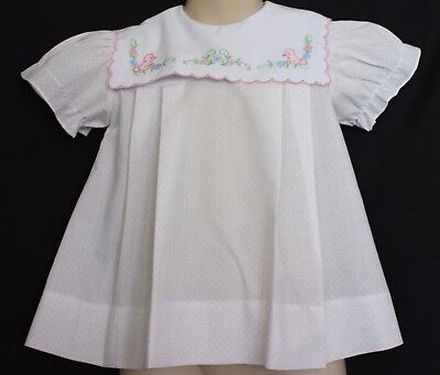VINTAGE 70s 80s Little Loves ~ Baby Girl White  Blouse w Embroidered Ducks 2