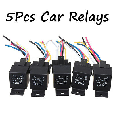 5Pcs Car SPDT Automotive Relay DC 12V  5 Pin 5 Wires W/ Harness Socket 30/40 Amp