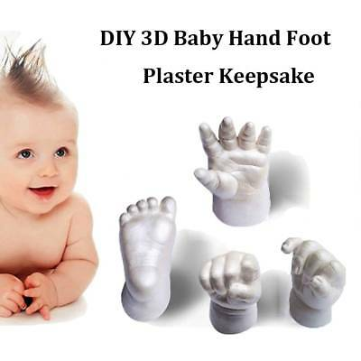 Gold&Silver 3D Plaster Baby Mould Handprint Footprint Casting Prints Kit Powder