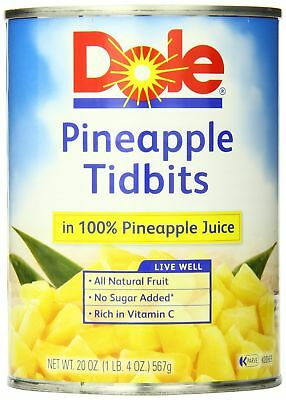 Dole Pineapple Tidbits in 100% Juice, 20 Ounce Cans (Pack of 12)