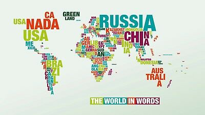 World map in words canvas picture wall art 981 1495 picclick uk world map in words canvas picture poster print wall art unframed 981 gumiabroncs Image collections
