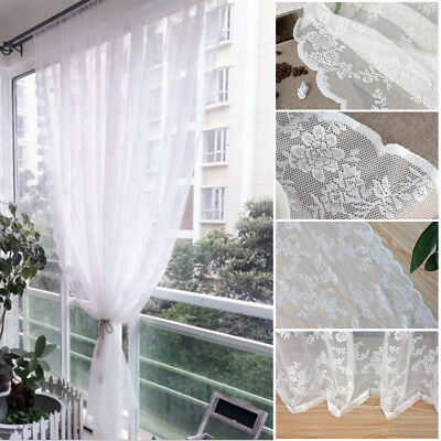 Tulle Voile Door Window Curtain Drape Panel Sheer Scarf Valances Floral Patterns