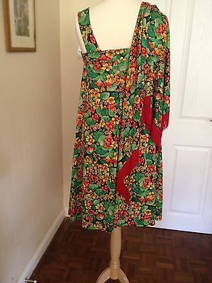 Vintage DL Barron 1970, Green Flowery Dress shawl with red Fringe Size 14.
