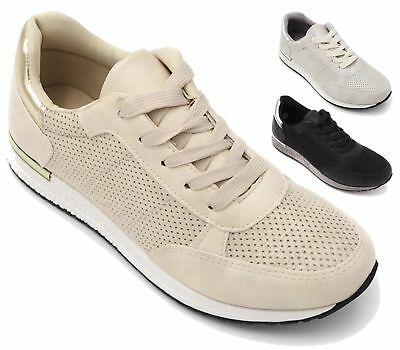 Womens Trainers Gym Fitness Sports Running Perforated Jogging Ladies Shoes Size