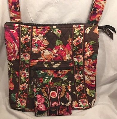 Vera Bradley Lot of Crossbody Purse Shoulder Bag Wallet Brown Flowered